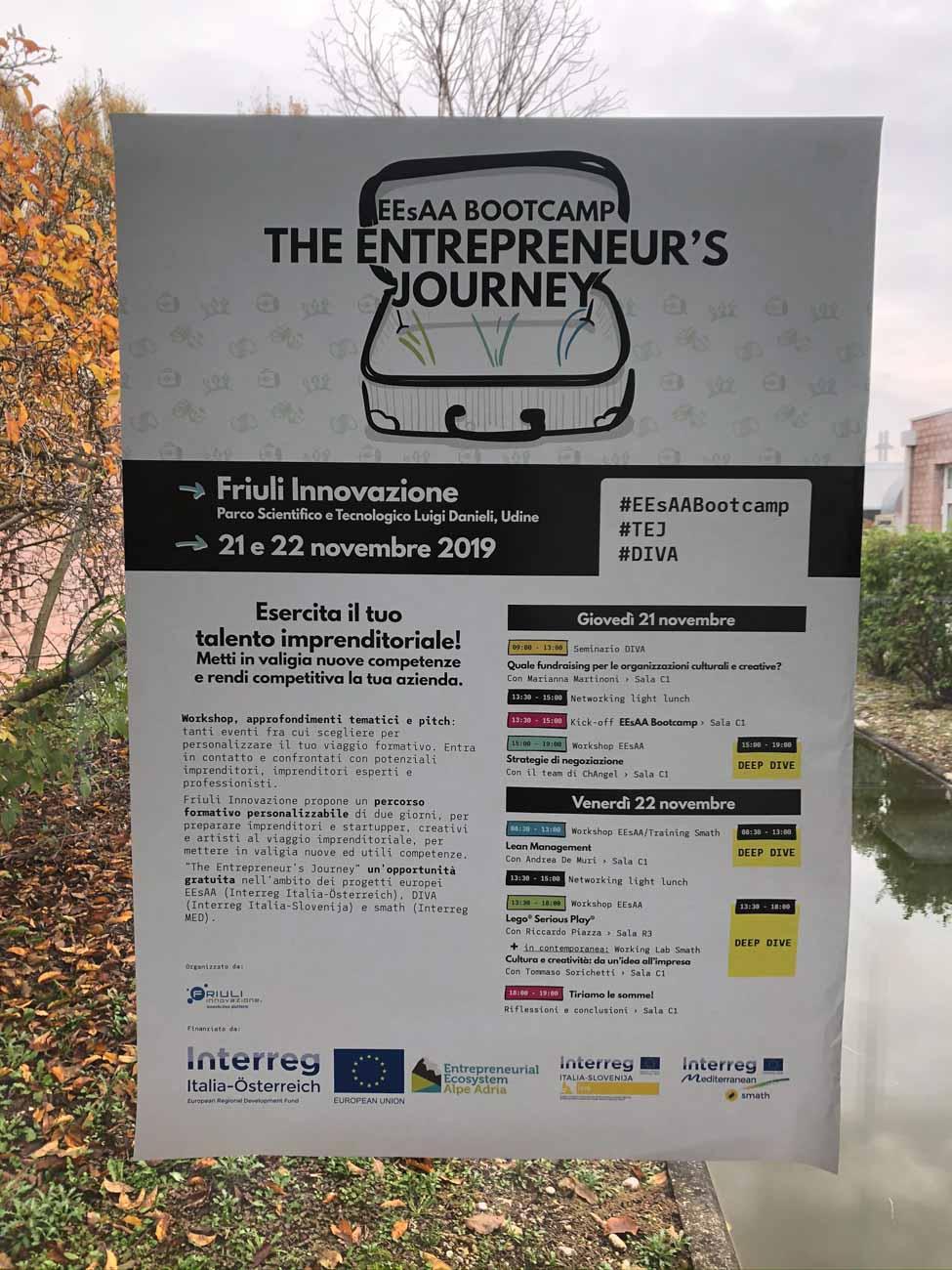 Manifesto progettato da Creaa per l'evento formativo The Etrepreneur's Journey, dedicato a imprenditori e futuri imprenditori